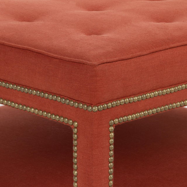 English Traditional Casa Cosima Kensington Ottoman in Paprika Linen For Sale - Image 3 of 6