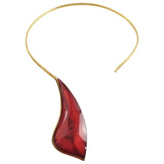 Modernist Space Age Brass Necklace Neck-Ring With Red Resin Drop For Sale