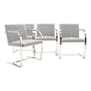 Mies Van Der Rohe Gray Suede Brno Chairs - Set of 4 For Sale