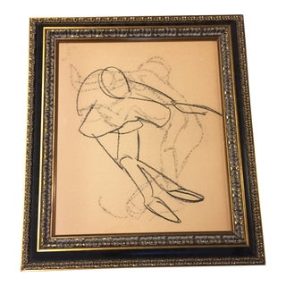 Vintage Modernist Sports Drawing For Sale