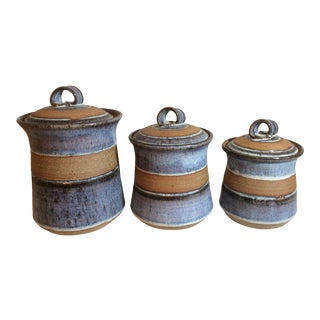 Stoneware Handcrafted Glazed Canisters - Set of 3 For Sale
