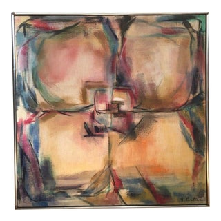 1971 Coulter Vintage Mid-Century Modern Abstract Oil Painting For Sale