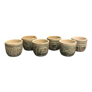 1960s Hal Lasky Puerto Rican Pottery Cups - Set of 6 For Sale