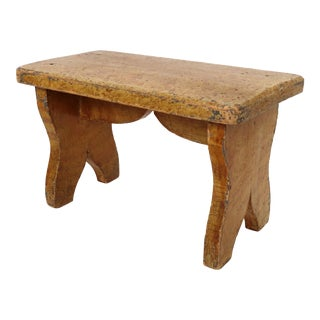 Antique American Primitive Grain Painted Wood Fireside Stool For Sale