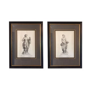 Framed Black and White Classical Prints - A Pair For Sale
