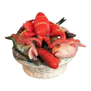 Italian Ceramic Seafood Sealife Lobster Centerpiece For Sale