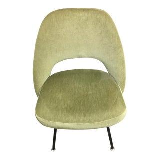 Original Mid-Century Eero Saarinen Celery Green Velvet Side Chair