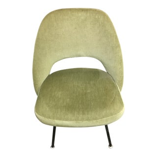 Original Mid-Century Eero Saarinen Green Velvet Side Chair
