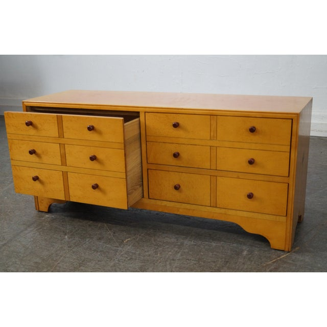 Brown American Artech by Hickory Kaylyn Low Birdseye Maple Chest For Sale - Image 8 of 10