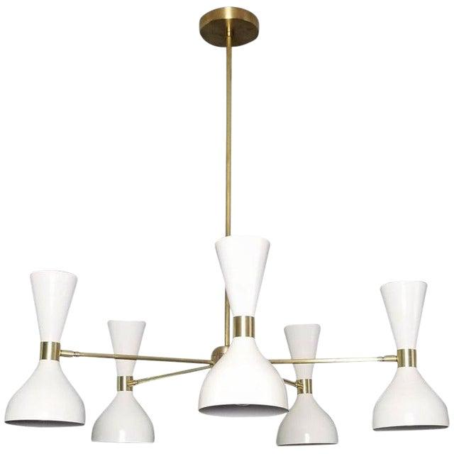 "Blueprint Lighting White Enamel & Brass ""Ludo"" Round Chandelier For Sale"
