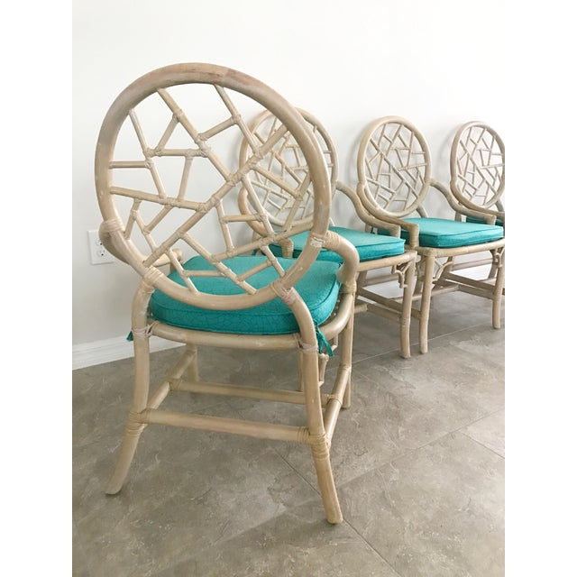 Vintage McGuire Cracked Ice Rattan Chairs - Set of 4 For Sale - Image 5 of 7
