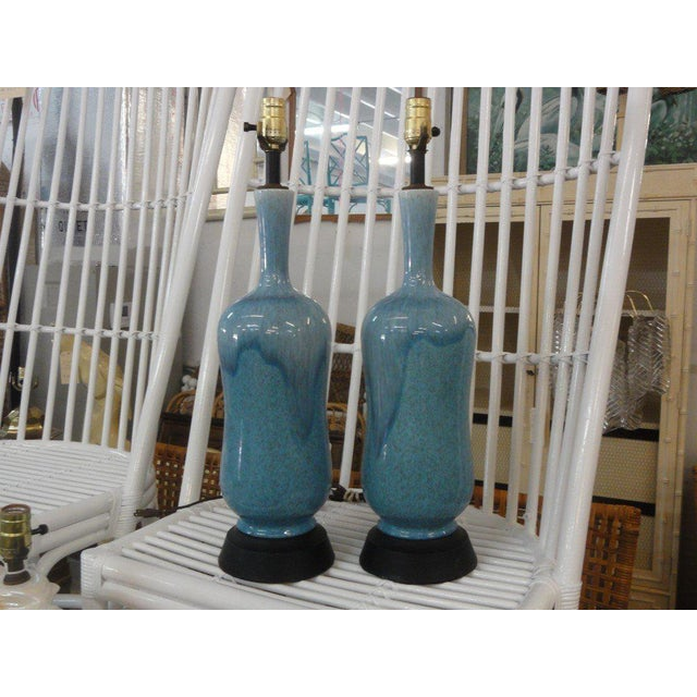 Mid-Century Modern Robin Egg Blue Glazed Lamps - A Pair - Image 6 of 10