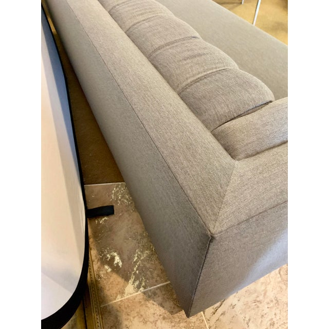 1970s Vintage Milo Baughman Chrome and Tufted Gray Sofa For Sale - Image 9 of 13