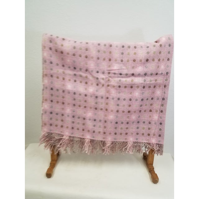 Wool Throw Brown and White Polka Dots on Pink Background - Made in England For Sale - Image 4 of 13