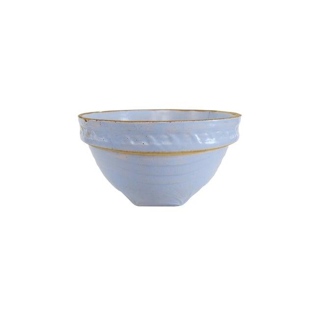 Vintage Light Pale Blue Stoneware Earthenware Pottery Farmhouse Round Mixing Bowl For Sale