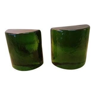 Blenko Art Glass Forest Green Bookends - A Pair