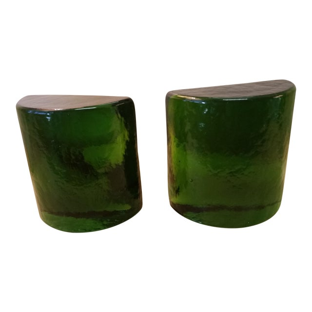 Blenko Art Glass Forest Green Bookends - A Pair For Sale