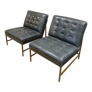 Mid Century Major Leather Chairs by Mitchell Gold + Bob Williams- A Pair For Sale