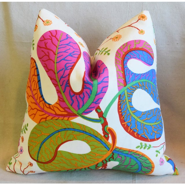 "Early 21st Century Designer Josef Frank ""Teheran"" Floral Linen Feather/Down Pillows 18"" Square - Pair For Sale - Image 5 of 11"
