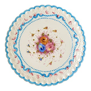 Vintage Italian Hand Painted Low Cake Plate For Sale