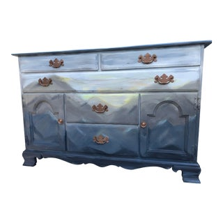 1980s Art Deco Mountain Mural Dresser For Sale
