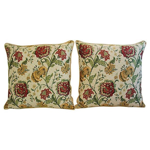 Pair of large custom-tailored Italian Scalamandré pillows. Pillow fronts are a vintage/never used silk-blend brocade...