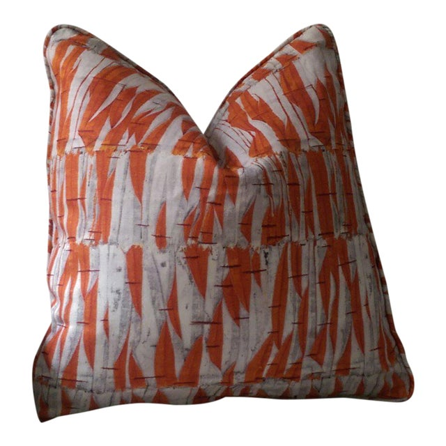 Holland & Sherry Christopher Farr Willow Orange Pillow Cover For Sale