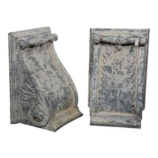 Large Zinc Decorative Corbels with Volute - a Pair For Sale