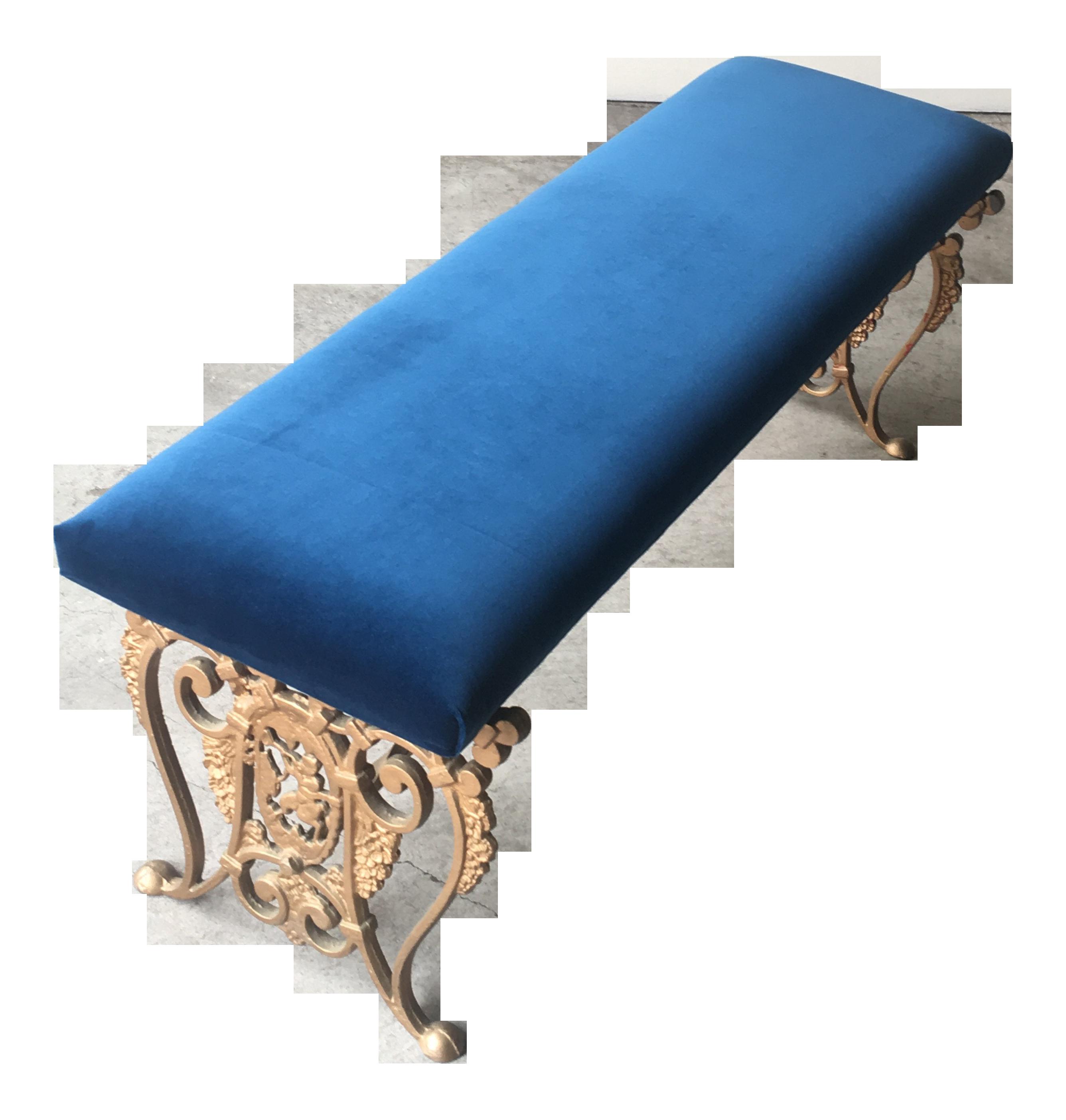 Exceptionnel Art Nouveau Blue Velvet Gilded Cast Iron Bench For Sale