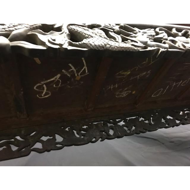 Brown Antique Asian Hand Carved Console For Sale - Image 8 of 9