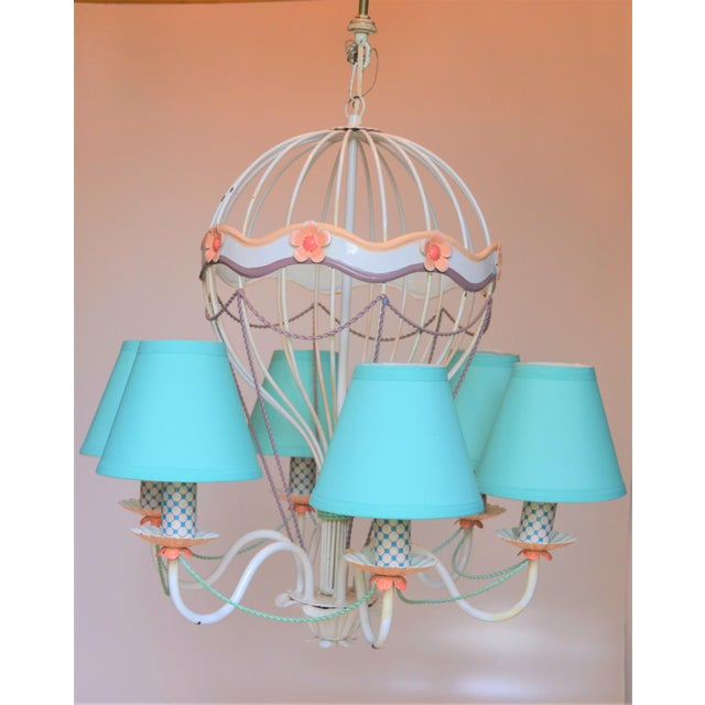 Blue 1960s Vintage Italian Tole Hot Air Balloon Chandelier For Sale - Image 8 of 12