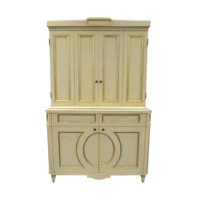 French Neoclassical Louis XVI Style Cream & Gold Painted Bar Cabinet by Decca A For Sale
