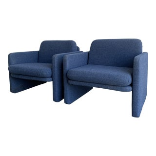 1980s Chiclet Style Lounge Chairs For Sale