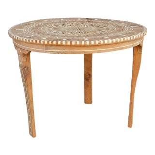 Syrian Inlaid Marquetry Round Table For Sale