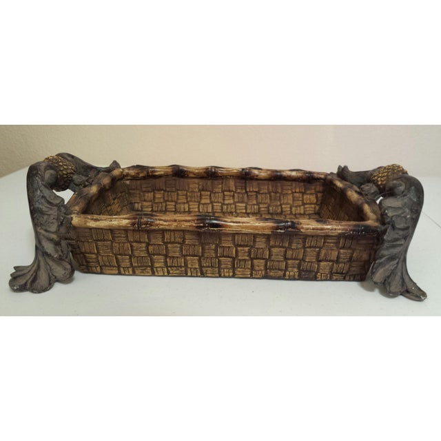Mid-Century Modern Faux Rattan & Pineapple Basket/Tray - Image 4 of 10