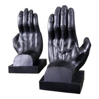Vintage Sculptural Cast Iron Hand Bookends - a Pair