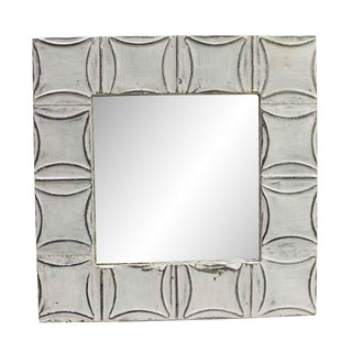 Shabby Chic Curved Tin Square Detailed Wall Mirror For Sale
