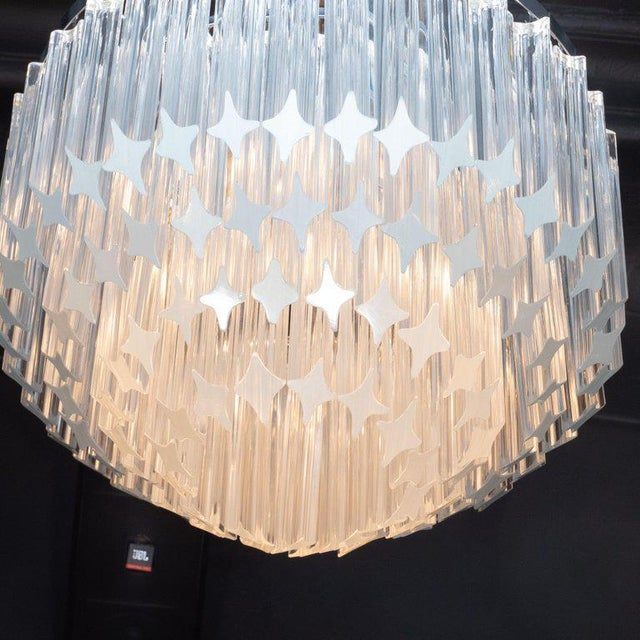 Metal Italian Mid-Century Modern Camer Chandelier With Chrome Detailing For Sale - Image 7 of 8