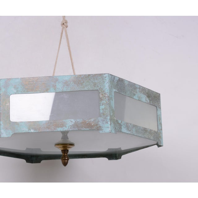 Hexagonal Tole Ceiling Mount Lamp For Sale - Image 4 of 7