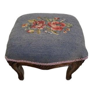 Vintage Mid Century Needlepoint Cushion Stool For Sale