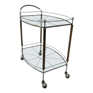 1950s Mid Century Modern Teak and Metal Bar/Tea Cart For Sale