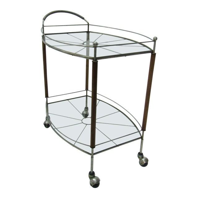 1950s Mid Century Modern Teak and Metal Bar/Tea Cart For Sale