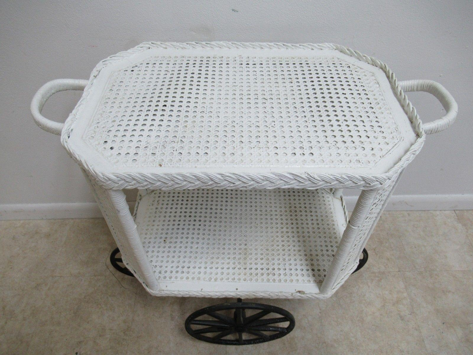 Victorian Wicker Patio Porch Serving T Cart Bar Server   Image 4 Of 12