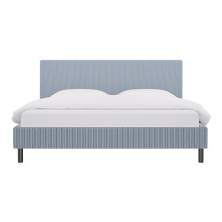King Tailored Platform Bed in Azul Ticking Stripe For Sale