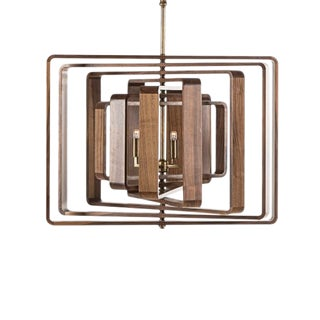 7 Layer Spiral Walnut Chandelier For Sale