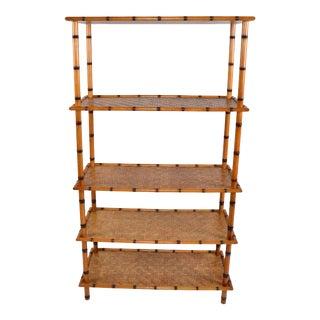 Baker Furniture Attributed Mid-Century Modern 5 Tier Bamboo & Rattan Bookshelf For Sale
