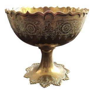 Vintage Bohemian Heavy Brass Etched Pedestal Bowl