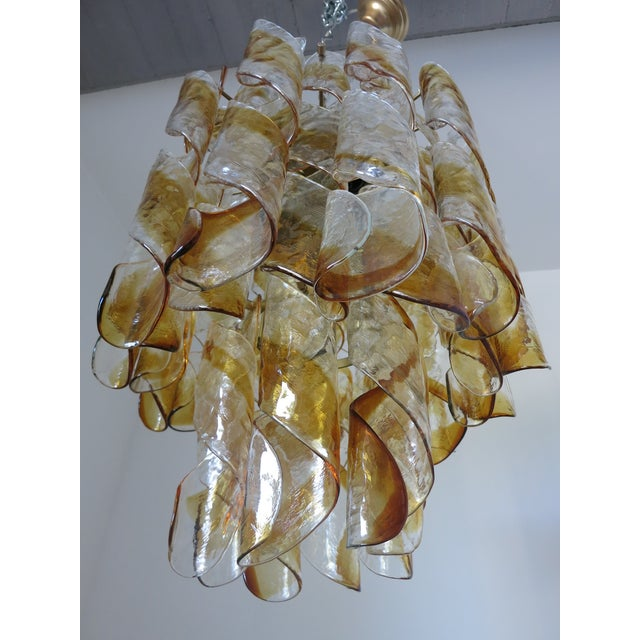 Italian Amber and Clear Twist Murano Chandelier by Mazzega For Sale - Image 3 of 6