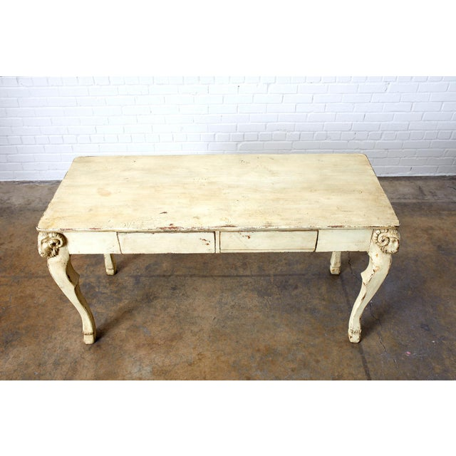 Italian Rustic Italian Lacquered Ram's Head Motif Writing Table For Sale - Image 3 of 13