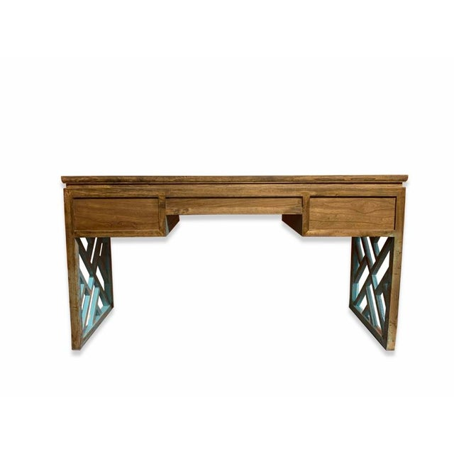 Early 21st Century Asian Distressed Panel Legs Desk For Sale - Image 5 of 6